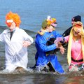 Sara Kissinger, from left, Lindsay Varnes and Michele Oakley, dressed as Beaker, Floyd Pepper and Ja...