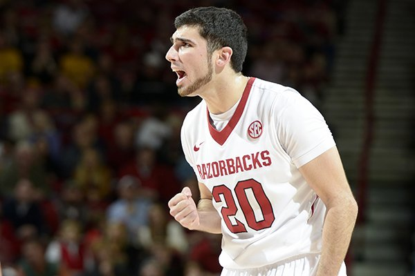 Arkansas' Kikko Haydar tries to rally the team against Missouri late in the first half Tuesday, Jan. 28, 2014 at Bud Walton Arena in Fayetteville.