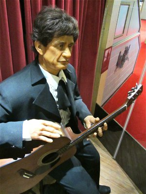Visitors to the Arkansas Entertainers Hall of Fame in Pine Bluff are greeted by an animatronic Johnny Cash. The figure strums the guitar when a button is pressed, as six songs play.