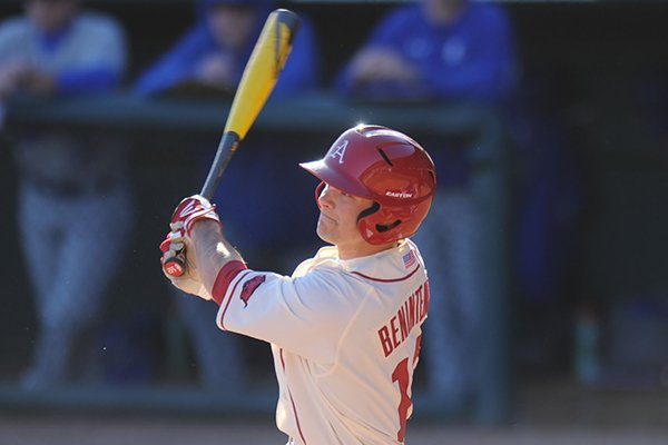 Arkansas center fielder Andrew Benintendi connects with his first hit as a Razorback, an RBI double during the third inning against Eastern Illinois Friday, Feb. 21, 2014, at Baum Stadium in Fayetteville.