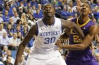 Kentucky's Julius Randle (30) during the second half of an NCAA college basketball game against LSU, Saturday, Feb. 22, 2014, in Lexington, Ky. Kentucky won 77-76. (AP Photo/James Crisp)