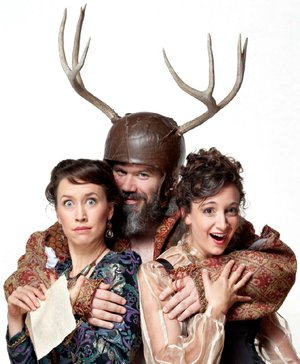 Bridget Rue (left) and Stephanie Holladay Earl are The Merry Wives of Windsor to Rick Blunt's Falstaff in the American Shakespeare Center's touring production of the Shakespeare play. Historic Washington State Park hosts the touring troupe during Shakespeare in the Park, Friday-Saturday.