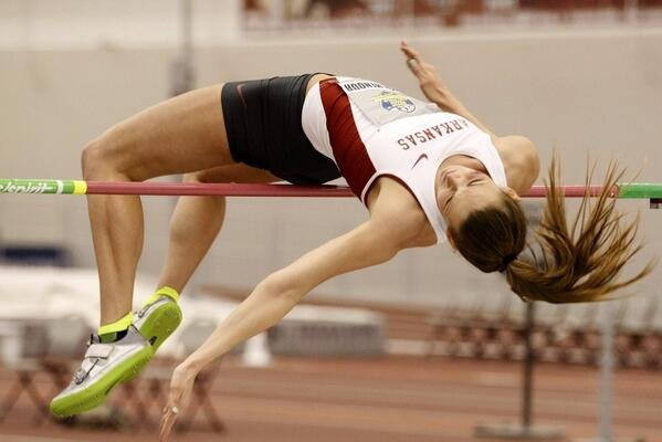 Arkansas' Alexandria Gochenour competes in the high jump Thursday in College Station, Texas.