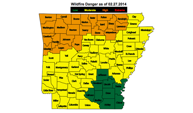 this-map-provided-by-the-arkansas-forestry-commission-shows-the-levels-of-wildfire-danger-throughout-the-state-as-of-thursday-feb-27-2014