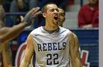 Mississippi guard Marshall Henderson (22) reacts after being called for a foul during the first half of an NCAA college basketball game against Alabama in Oxford, Miss., Wednesday, Feb. 26, 2014. Mississippi won 79-67. (AP Photo/Thomas Graning)