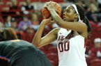 Arkansas forward Jessica Jackson gets ready to shoot a free throw during the first half of a Feb. 6, 2014 game against Florida at Bud Walton Arena in Fayetteville.