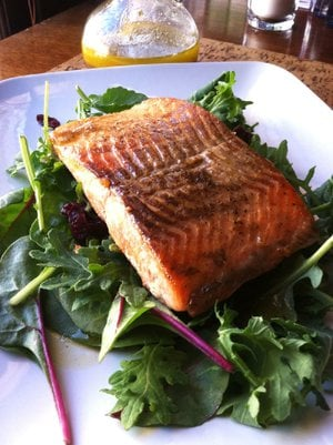 Salmon With Baby Greens