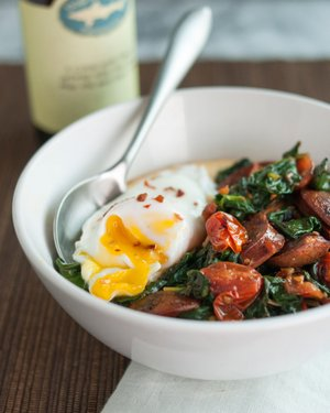 Polenta Bowl With Garlicky Spinach, Chicken Sausage and Poached Egg