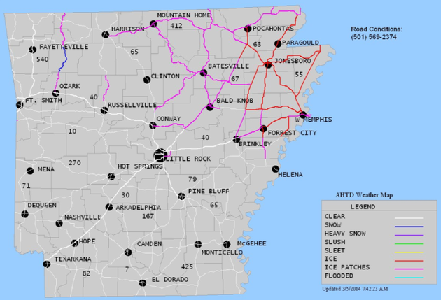 this-arkansas-highway-and-transportation-department-map-shows-ice-patches-in-pink-on-north-arkansas-highways-and-ice-across-northeast-arkansas-in-red-at-745-am-wednesday-march-5-2014