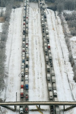 Stalled traffic fills Interstate 40 on Tuesday between Forrest City and West Memphis. A similar backup occurred on Interstate 55 southbound between Blytheville and Missouri.