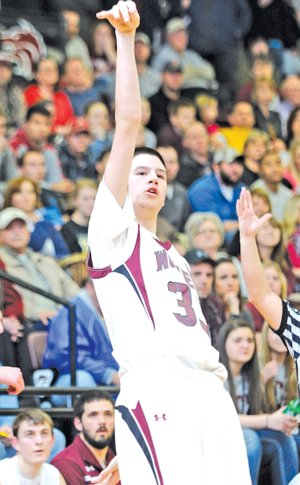 FILE PHOTO Shandon Goldman reacts after making a 3-pointer during the 4A-North Regional Tournament at Lincoln. Goodman, a junior, made eight 3-pointers and scored 26 points against Subiaco Academy.