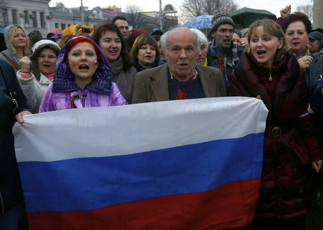 on-wednesday-march-5-2014-pro-russian-supporters-chant-slogans-during-a-rally-at-a-central-square-in-simferopol-ukraine-ukraine-is-facing-a-potentially-crippling-geographic-and-cultural-divide-a-growing-gulf-between-supporters-of-russia-who-dominate-the-east-and-south-of-the-country-and-western-ukrainians-who-yearn-for-closer-ties-to-western-europe-one-side-of-that-divide-is-even-starker-in-crimea-a-black-sea-peninsula-for-much-of-the-past-200-years-crimea-was-under-russian-and-soviet-control-and-today-most-crimeans-see-themselves-as-only-nominally-ukrainian-and-russian-is-by-far-the-dominant-language