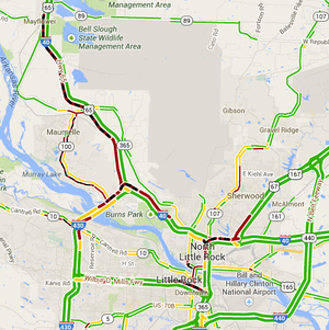 The Arkansas Online traffic map at 8:30 a.m. Friday, March 7, 2014, shows traffic heavily congested throughout central Arkansas.
