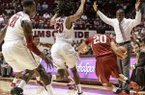 Alabama coach Anthony Grant yells as Alabama collapses on Arkansas guard Kikko Haydar (20) during an NCAA college basketball game Saturday, March 8, 2014, at Coleman Coliseum in Tuscaloosa, Ala. (AP Photo/AL.com, Vasha Hunt)