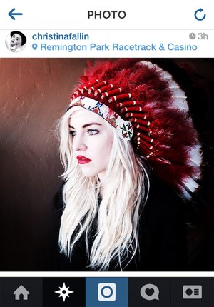 "This photo posted to Christina Fallin's Instragram account shows Fallin, the daughter of Oklahoma Gov. Mary Fallin, wearing a Native American headdress. Christina Fallin is defending herself after she posted the photo on social media sites. In a statement to The Associated Press, she says that with age, she feels a ""deeper and deeper connection to the Native American culture."""