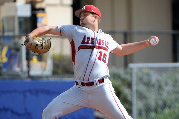 Arkansas pitcher Colin Poche tossed three innings in his first start of the season Saturday against Tulane at the Cal Baseball Classic in Berkeley, Calif.