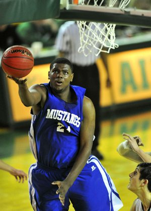 Forrest City's 6-10 senior center Trey Thompson, an Arkansas signee, finished with 10 points and nine rebounds in the Mustangs' 65-51 victory over Pulaski Academy on Tuesday afternoon in the semifinals of the Class 5A boys basketball state tournament in Alma.