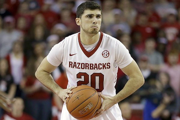 Arkansas guard Kikko Haydar plays in the first half of an NCAA college basketball game against Mississippi in Fayetteville, Ark. Wednesday, March 5, 2014. (AP Photo/Danny Johnston)