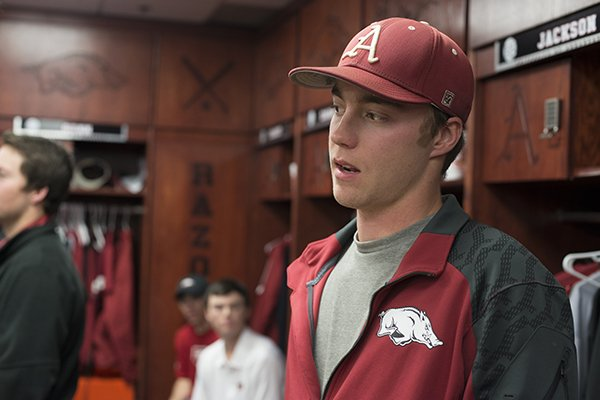 Trey Killian, Arkansas sophomore pitcher, talks with the media Friday, Feb. 7, 2014 at the University of Arkansas baseball media day at Baum Stadium in Fayetteville.