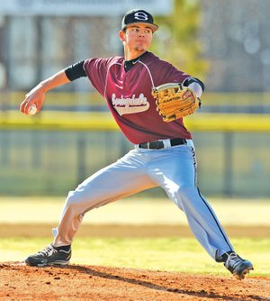 STAFF PHOTO ANDY SHUPE Matt Sherry, Springdale High starter, delivers a pitch Wednesday during the first inning against Prairie Grove at Bob Lyall Field in Springdale.