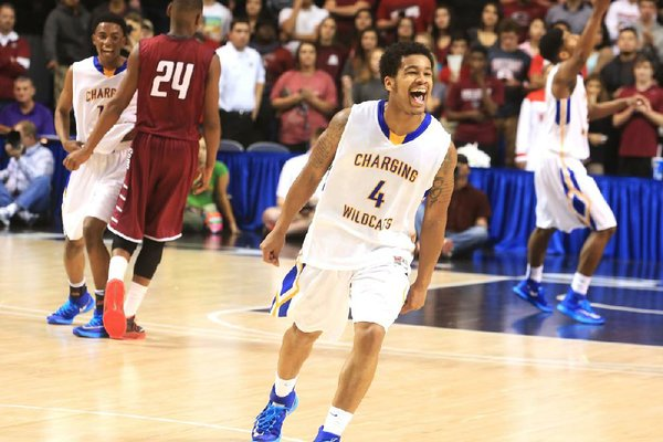 Arkansas Democrat-Gazette/RICK MCFARLAND --03/13/14--  North Little Rock's Anton Beard (4), games most MVP, celebrates after they beat Springdale in the State Class 7A Boys Championship game in Hot Springs Thursday.