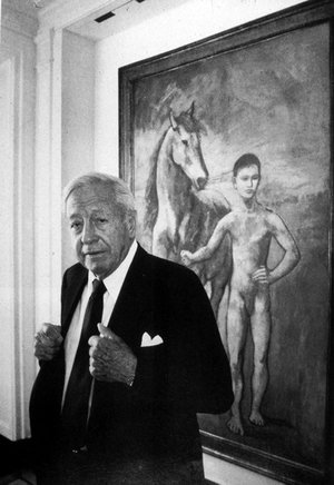 PHOTO COURTESY Crystal Bridges Museum of American Art William S. Paley spent many years as president of the Museum of Modern Art in New York City. The museum now owns many of the works he collected. Here, Paley, who died in 1990, stands in front of a work by Picasso.