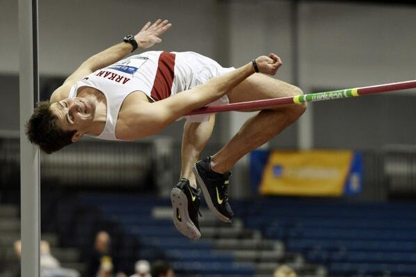 Arkansas' Kevin Lazas competes in the heptathlon Friday at the NCAA Indoor Track & Field Championships in Albuquerque, N.M.