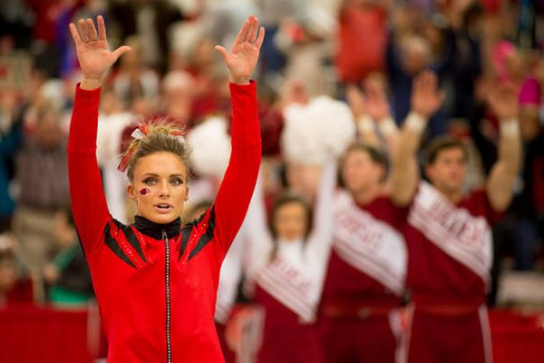 Katherine Grable is recognized prior to Friday's gymnastics meet against Oklahoma at Barnhill Arena in Fayetteville.