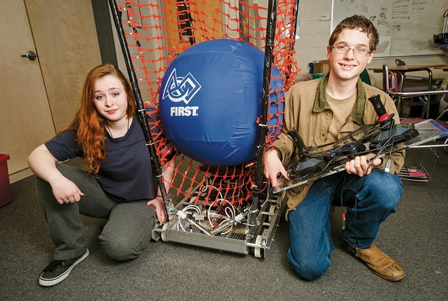 tenth-graders-dana-smith-left-and-canon-reeves-are-shown-with-the-robot-the-riverview-high-school-team-built-for-the-first-robotics-competition-dana-was-the-human-player-for-the-team-and-canon-was-the-driver