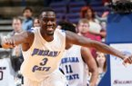 Indiana State guard/forward Manny Arop reacts as time expires during an MVC tournament game between Southern Illinois and Indiana State on Saturday, March 8, 2014, at the Scottrade Center in St. Louis. (AP Photo/St. Louis Post-Dispatch, Chris Lee)