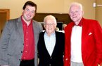Bob Cheyne, center, is pictured with University of Arkansas associate athletics director Kevin Trainor, left, and former Razorbacks football coach and athletics director Frank Broyles, right, during an event in 2012.