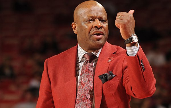 Arkansas coach Mike Anderson directs his team against Indiana State during the second half Tuesday, March 18, 2014, at Bud Walton Arena in Fayetteville.