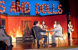 "Photo by Dodie Evans Music and dance abounded in the production of ""Guys and Dolls,"" as this scene with the Hot Shot Girls demonstrates. The show was presented in the Gravette High School Performing Arts Center over the weekend."
