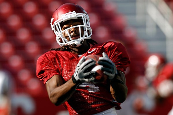 Arkansas wide receiver Keon Hatcher photographed during practice on Thursday, Aug. 16, 2012, inside Donald W. Reynolds Razorback Stadium in Fayetteville.