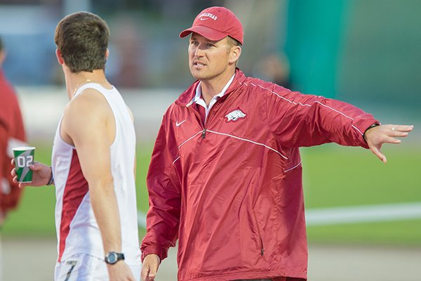Arkansas' Travis Geopfert was named national assistant coach of the year for the second consecutive indoor season.