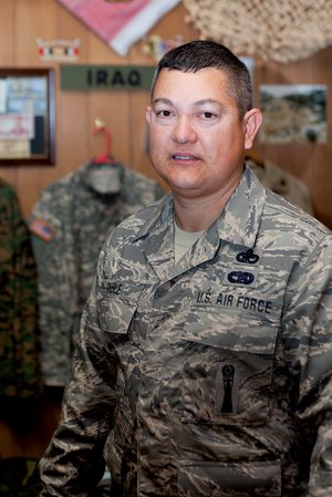 First Sgt. Brian Anible of Conway, who serves with the 188th Mission Support Group of the Arkansas Air National Guard in Fort Smith, was awarded the title of 2014 Faulkner County Veteran of the Year on March 14.