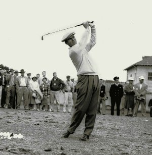 "FILE-This June 17, 1955 file photo shows Jack Fleck, formerly of Davenport, Iowa, warming up before a playoff with Ben Hogan for the National Open title. The Olympic Club gained a reputation as the ""graveyard of champions"" for the major champions who finish second. And the 1955 U.S. Open is best known for how unheralded Fleck took down Ben Hogan in one of golf's great upsets. (AP Photo/File)"