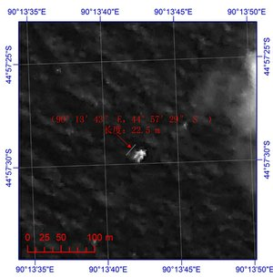 This image provided by China's State Administration of Science, Technology and Industry for National Defense shows a floating object seen at sea next to the descriptor which was added by the source. The image was captured around noon, on March 18, 2014 by a Chinese satellite in S44'57 E90'13 in south Indian Ocean. It shows what is suspected to be a floating object 22 meters long and 13 meters wide. It is about 120 km south (slightly to the west) of the suspected objects released by Australia.