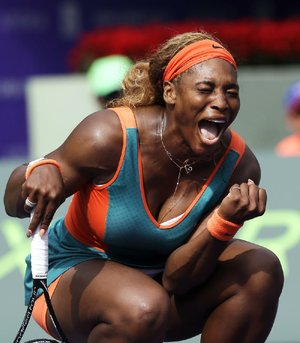 Serena Williams celebrates after scoring a point during her 6-4, 4-6, 6-4 victory over Caroline Garcia of France on Saturday at the Sony Open in Key Biscayne, Fla.