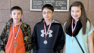 Submitted Photo March Students of the Month at Gravette Middle School are: Hayden Harris, sixth grade; Lewis Fox, seventh grade; and Ebere Miller, eighth grade.