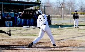 Junior Blackhawk Garrett Easterling, No. 21, is shown batting at the home opening baseball game.