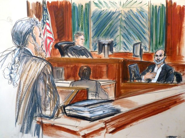 in-this-courtroom-sketch-osama-bin-ladens-son-in-law-sulaiman-abu-ghaith-right-testifies-at-his-trial-wednesday-march-19-2014-in-new-york-on-charges-he-conspired-to-kill-americans-and-aid-al-qaida-as-a-spokesman-for-the-terrorist-group-listening-to-testimony-are-judge-lewis-kaplan-center-and-defense-attorney-stanley-cohen-at-podium-in-his-surprise-testimony-abu-ghaith-recounted-the-night-of-the-sept-11-2001-attacks-when-the-al-qaida-leader-sent-a-messenger-to-drive-him-into-a-mountainous-area-for-a-meeting-inside-a-cave-in-afghanistan-did-you-learn-what-happened-we-are-the-ones-who-did-it-abu-ghaith-recalled-bin-laden-telling-him