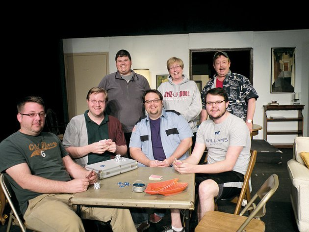 the-odd-couple-by-neil-simon-will-open-friday-at-the-rialto-theatre-in-morrilton-appearing-in-the-rialto-players-production-of-the-comedy-are-seated-from-left-jason-newman-as-roy-director-shane-atkinson-as-vinnie-jim-bowles-as-murray-and-garrett-lenzen-as-speed-and-standing-grant-douglas-as-felix-unger-karen-caig-as-gwendolyn-pigeon-and-rich-minick-as-oscar-madison-not-shown-is-ruth-minick-who-plays-cecily-pigeon