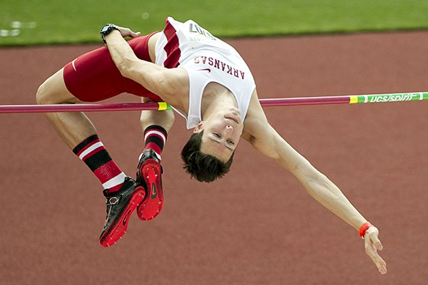 Dwayne Golbek of Arkansas competes in the high jump at the Texas Relays at Mike A. Myers Stadium in Austin, Texas, on Friday, March 28, 2014. (AP Photo/Austin American-Statesman, Jay Janner)