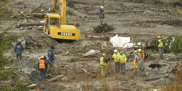 search-workers-stand-with-a-rescue-dog-near-a-piece-of-heavy-equipment-being-used-to-clear-trees-and-other-debris-thursday-march-27-2014-as-the-search-continued-for-victims-of-the-massive-mudslide-that-struck-saturday-near-darrington-wash