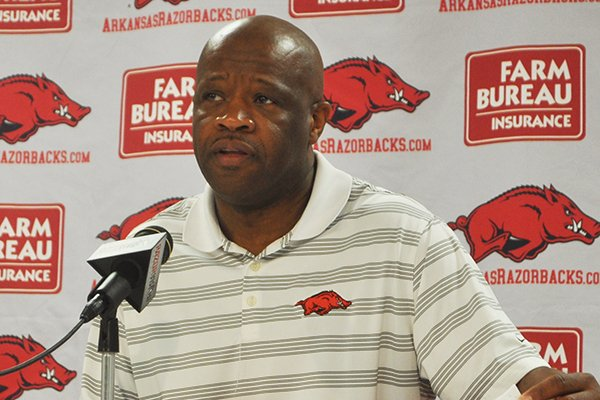 Mike Anderson speaks during his season-ending news conference Wednesday, April 2, 2014 at Bud Walton Arena in Fayetteville.