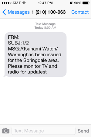 A warning erroneously sent by Springdale's emergency notification system.