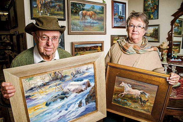 marv-crummer-and-his-wife-jan-will-have-an-art-show-at-carmens-antiques-in-conway-marv-specializes-in-paintings-of-nature-and-jan-concentrates-on-horses-in-her-art