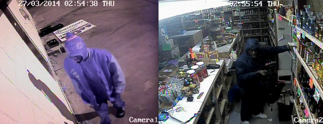 police-in-pine-bluff-say-these-surveillance-images-from-brown-bag-liquor-show-two-burglars-who-cut-a-hole-in-the-roof-and-then-made-off-with-liquor-and-cigarettes