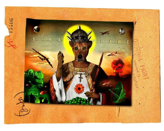 john-sykes-jrs-fido-of-nazareth-in-the-stratosphere-is-one-of-several-digital-collage-images-hanging-at-m2-gallery-in-little-rock
